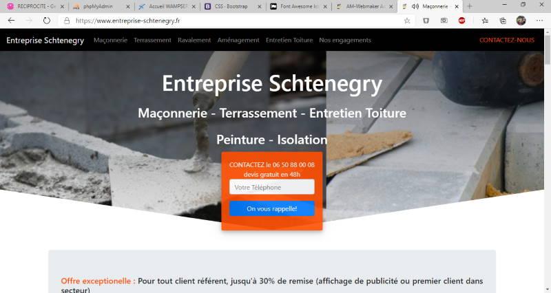 référence site vitrine avec appel client